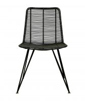 Rattan weave dining chair black
