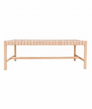 Mindi Woven Leather Bench Seat
