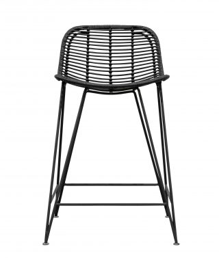Rattan weave bar stool black
