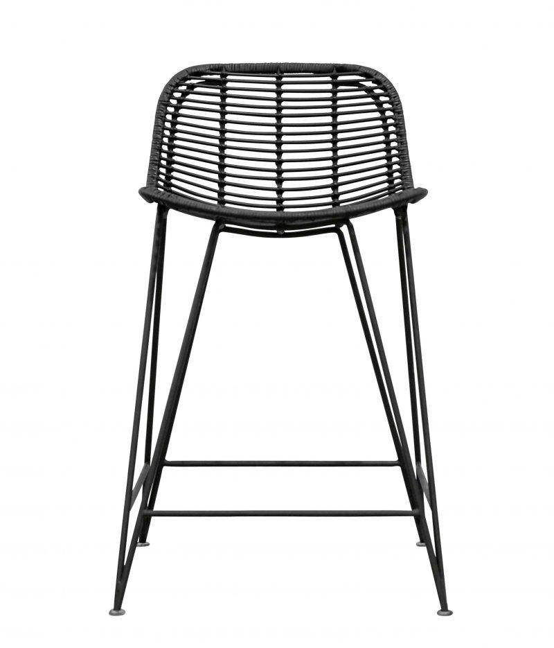 Rattan weave bar stool black