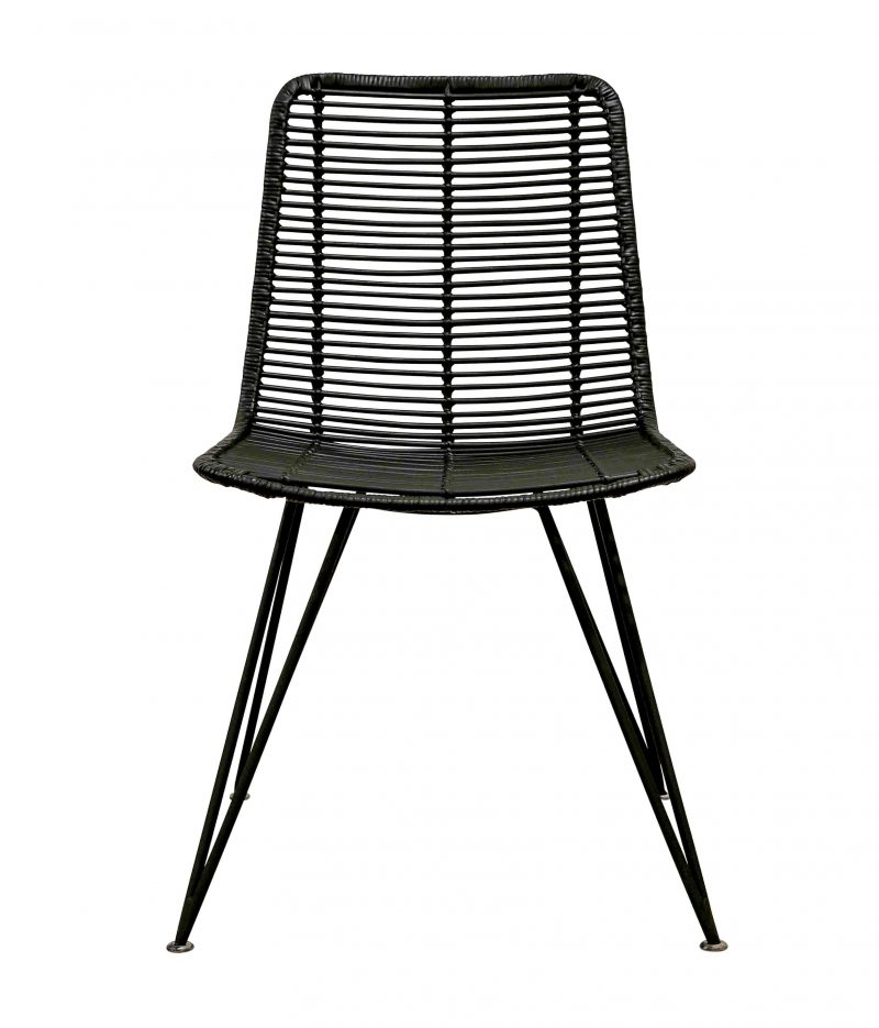Rattan weave dining chair black