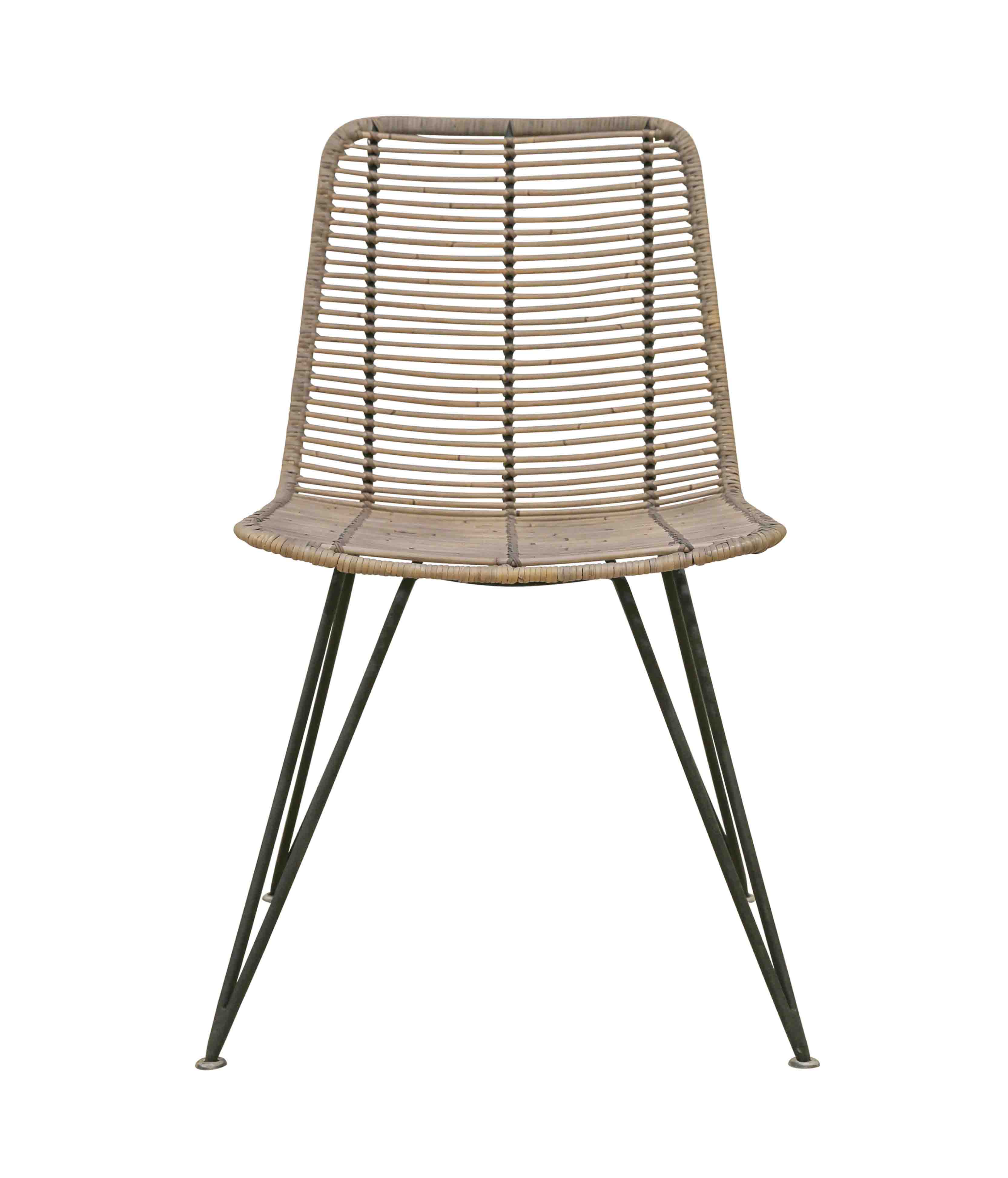 Rattan weave dining chair greywash