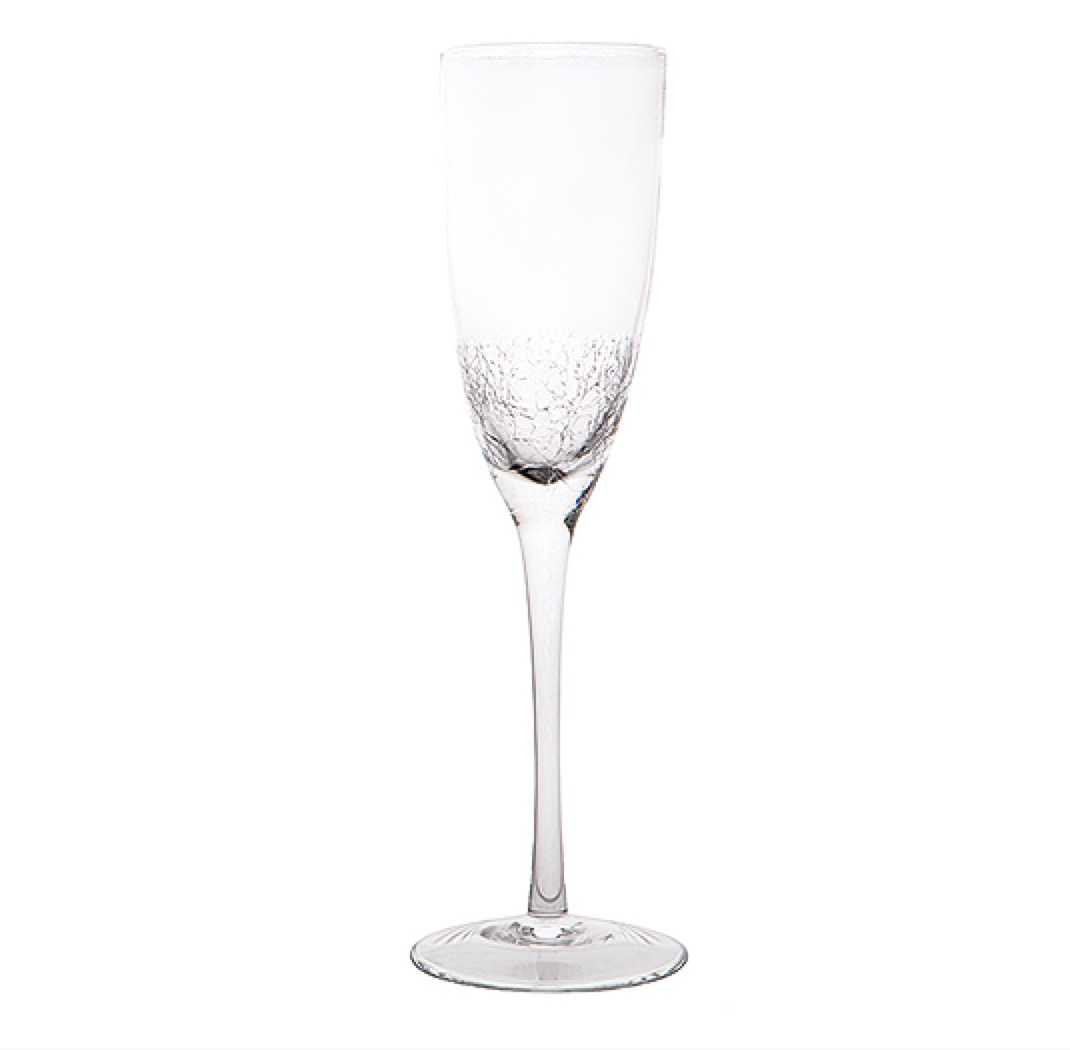 crackle champagne glass