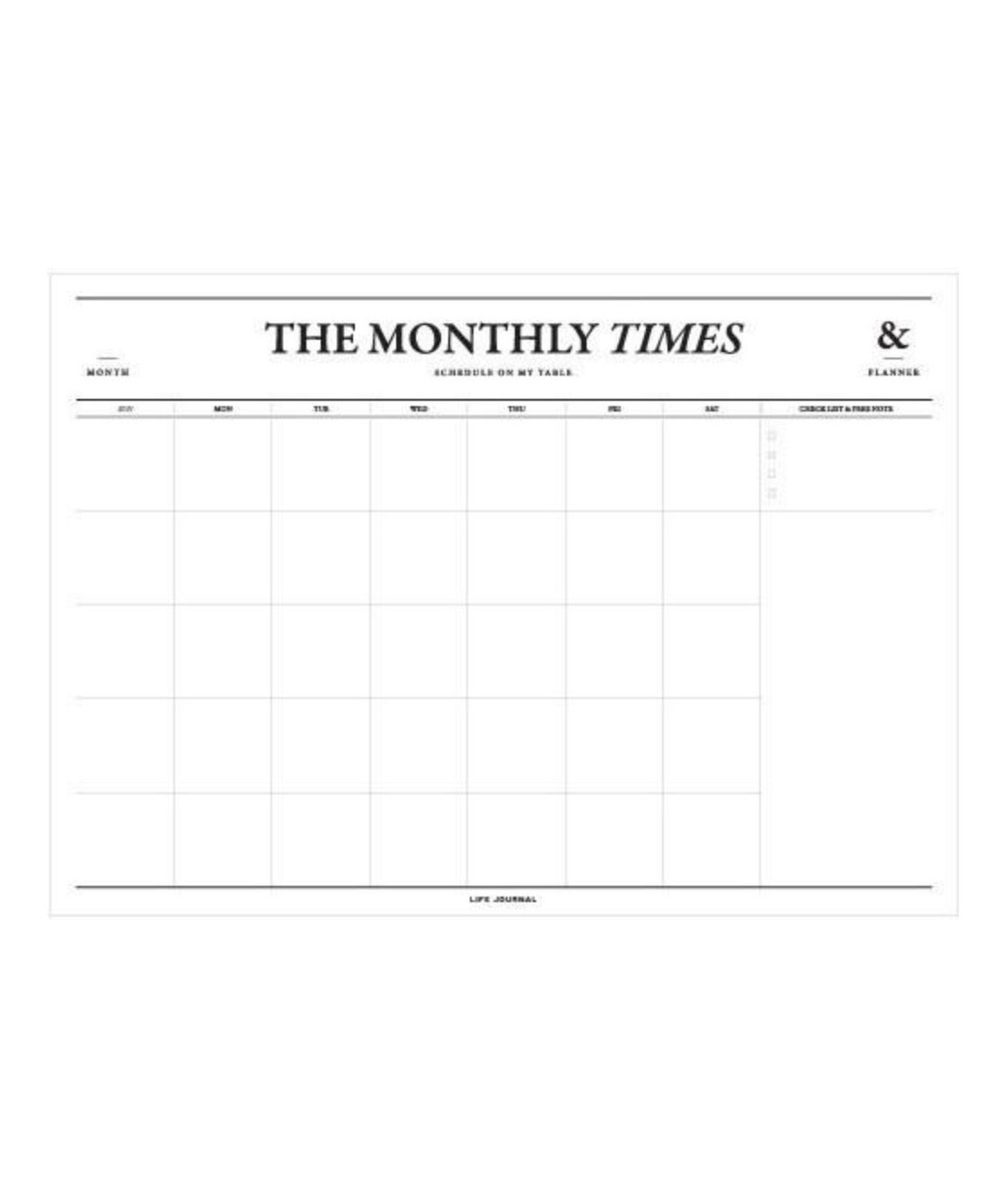 The Monthly Times Desk Planner