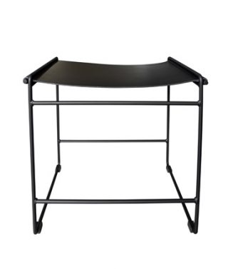 leather saddle stool black