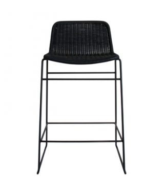 wicker barstool black