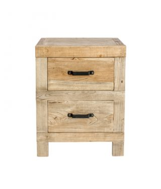 recycled elm 2-drawer bedside