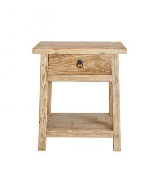 recycled elm 1-drawer 1 shelf bedside