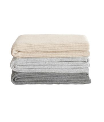 wide rib throw pale grey