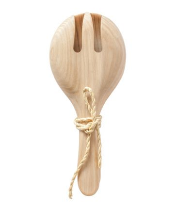 fork Salad Servers Set Oak Timber