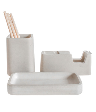 Concrete Desk Set: tape dispenser, pencil holder & tray
